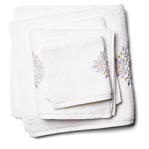 3-Pc Medallion Towel Set, Gray