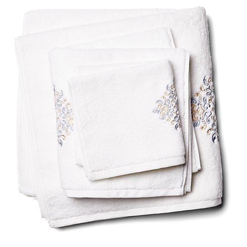 3-Pc Medallion Towel Set, Gray