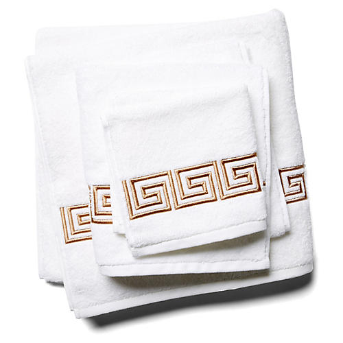 3-Pc Greek Key Towel Set, Tan