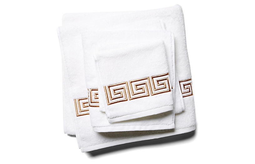 3-Pc Greek Key Towel Set, Tan