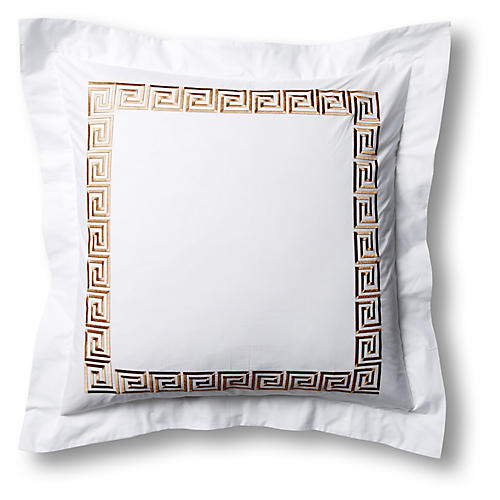 Greek Key Euro Sham, White/Tan