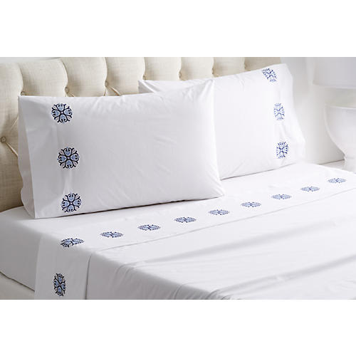 Bogota Sheet Set, White/Multi