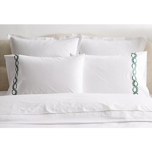 S/2 Wheat Pillowcases, White/Green