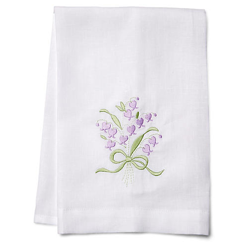Wisteria Guest Towel, Green/White
