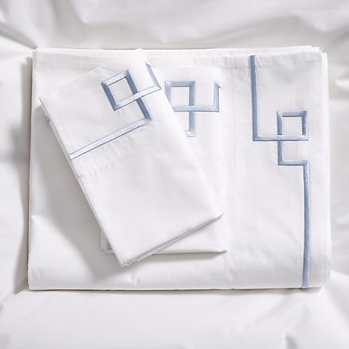 Fretwork Sheet Set, Light Blue/White
