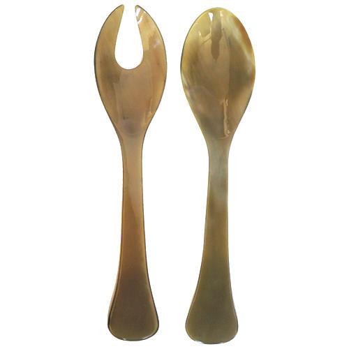 Asst. of 2 Horn Serving Set, Natural