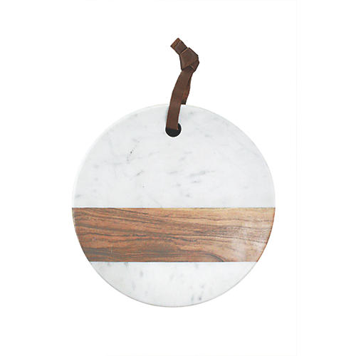 Acacia Round Marble & Wood Board, White