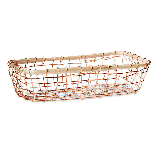 Tully Rectangular Wine Basket, Copper/Beige