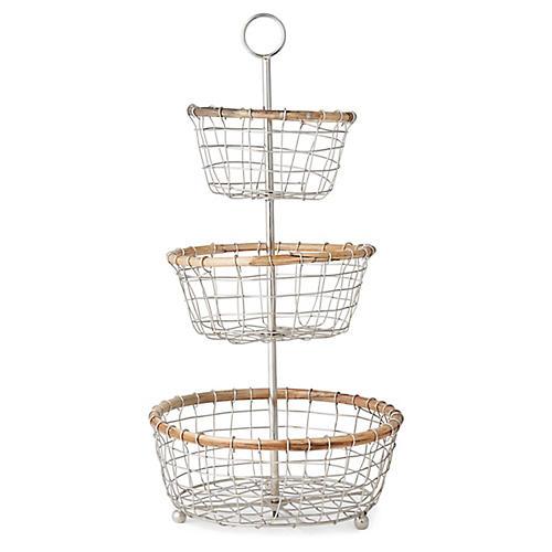 Hurn 3-Tier Basket, Silver/Natural