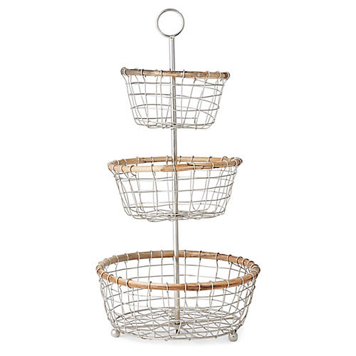 Hurn 3-Tier Basket, Silver/Natural