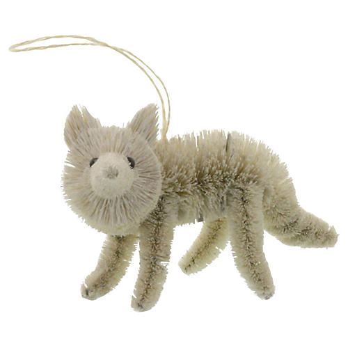 White Fox Bottle-Brush Ornament