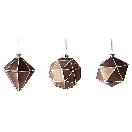 S/3 Quadrilateral Ornaments, Pewter