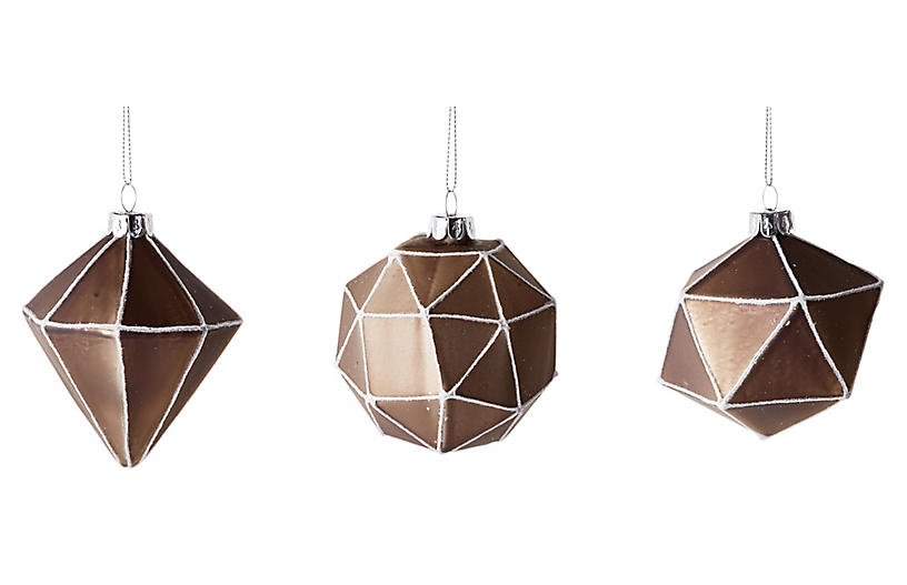 Set of 3 Quadrilateral Ornaments - Pewter