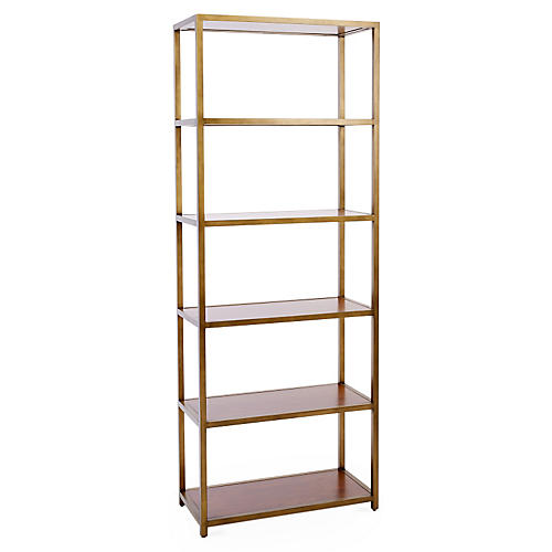 "NYPL 80"" Bookcase, Gold"
