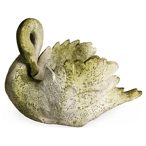 "22"" Swan Planter, White Moss"