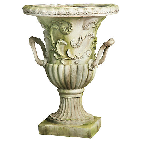 "30"" Entryway Urn, White Moss"