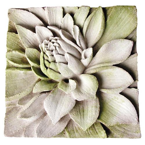 """14"""" Dahlia Plaque, White Moss"""