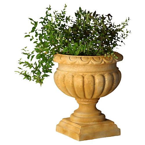 "21"" Fluted Urn, Brown"