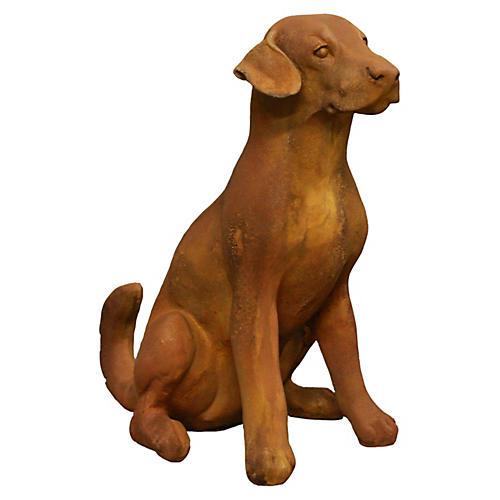 """20"""" Sitting Puppy Statue, Sandstone"""