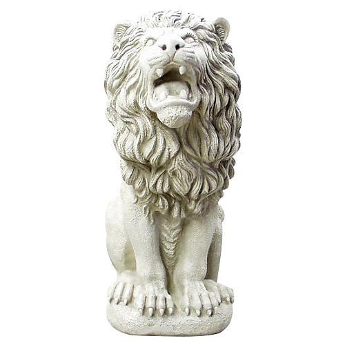 "30"" Roman Estate Lion, Antiqued Stone"