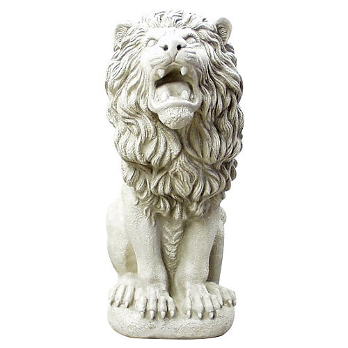 "30"" Roman Estate Lion, Antiqued Stone"