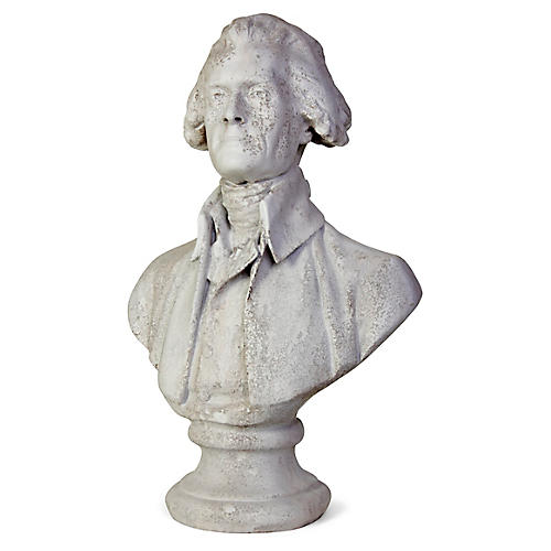 "29"" Jefferson Outdoor Bust, Distressed Ivory"