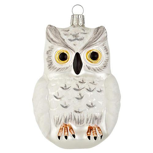 "5"" Glass Snow Owl Ornament"
