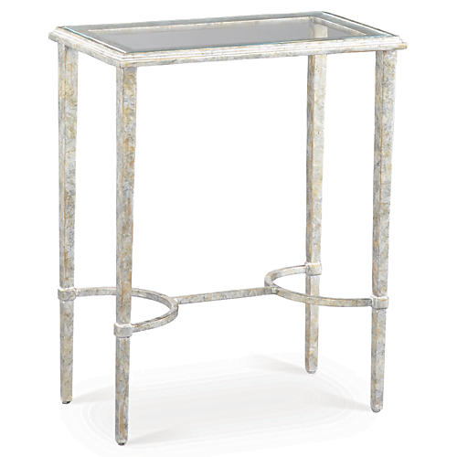 Innovation Glass Side Table, Silver