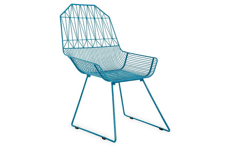 Bunny Iron Wire Chair, Peacock Blue