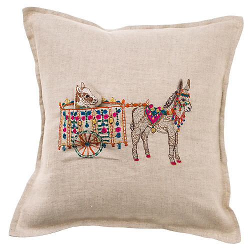 Donkey Cart 12x12 Pillow, Natural