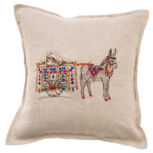 Donkey Cart 12x12 Pillow, Natural