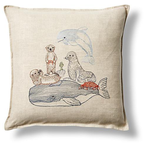 """Dive 16""""x16"""" Linen Pillow"""