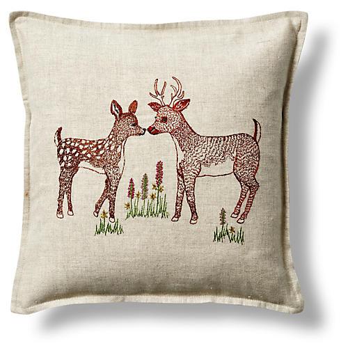 """Deer Love 12""""x12"""" Linen Pillow"""