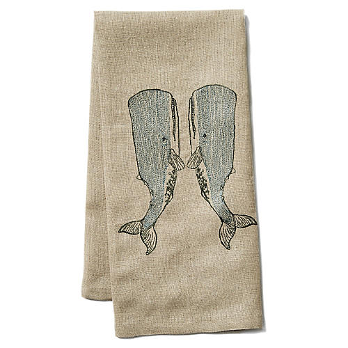 Whale Love Linen Tea Towel