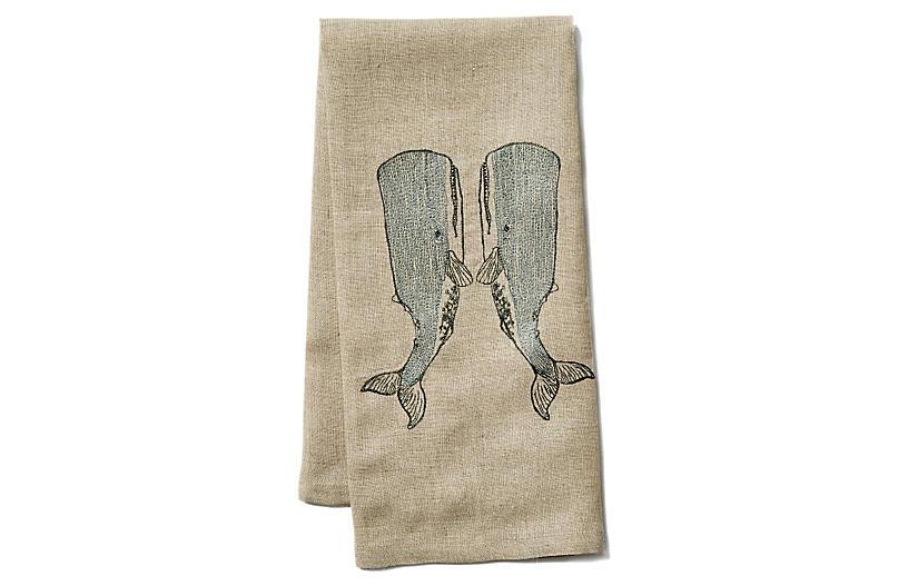 Whale Love Linen Tea Towel