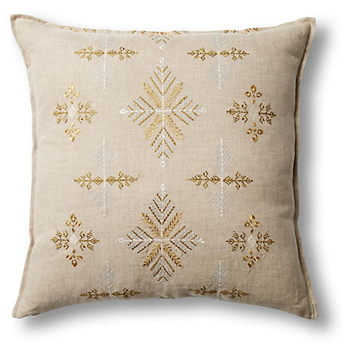 Exclusive Snowflakes 20x20 Linen Pillow