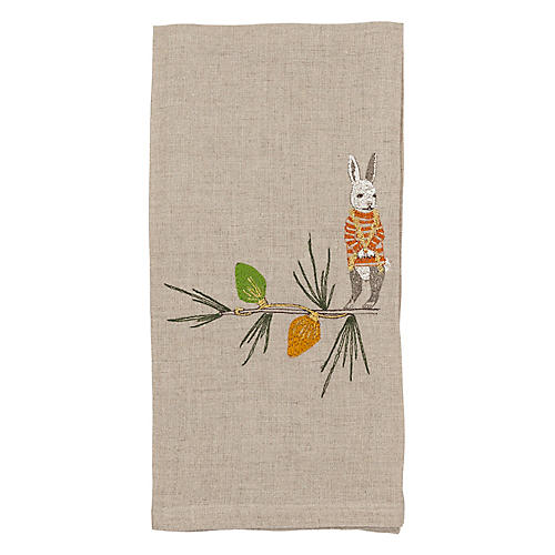 Bunny Tree Trimmer Tea Towel
