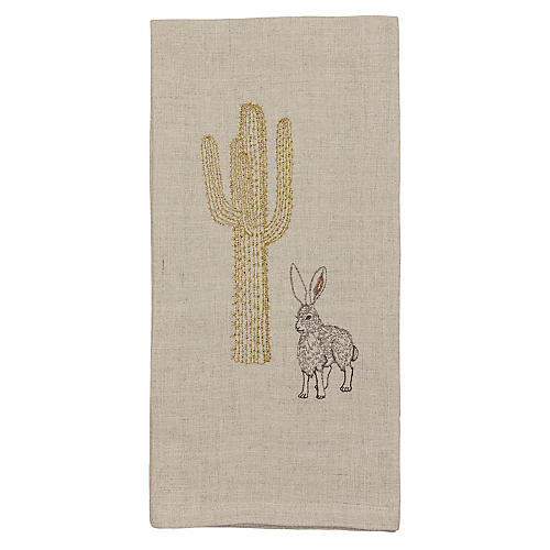 Jackrabbit & Saguaro Tea Towel, Natural/Multi