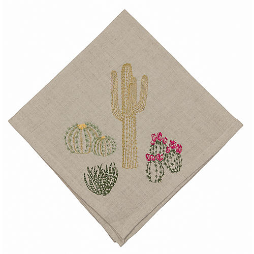 Cacti Field Dinner Napkin, Natural/Multi