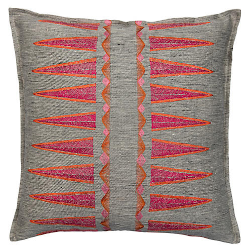 Quill Sunstone 16x16 Pillow, Fuchsia/Gray Linen