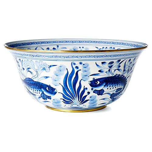 """15"""" Fish & Lotus Bowl, Blue/White"""