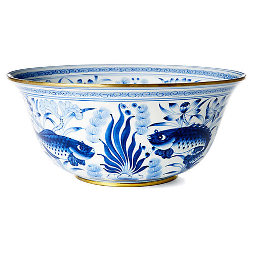 "15"" Fish & Lotus Bowl, Blue/White"