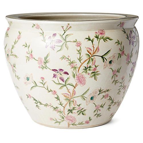 "18"" Floral Bowl, Pink/Green"