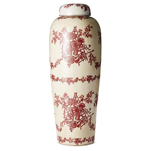 "32"" Floral Jar w/ Lid, Red/White"