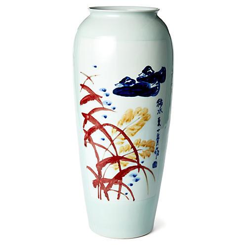"""19"""" Bamboo & Duck Vase, White/Multi"""