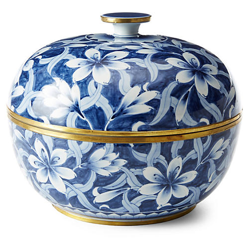 "13"" Low Jasmine Bowl, Blue/White"