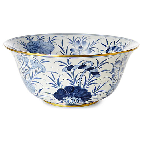 "15"" Lotus Bowl, Blue/White"