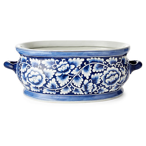 "24"" Peony Foot Bath, Blue/White"