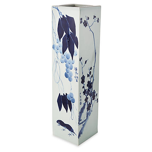 "28"" Loma Flower Vase, Blue/White"