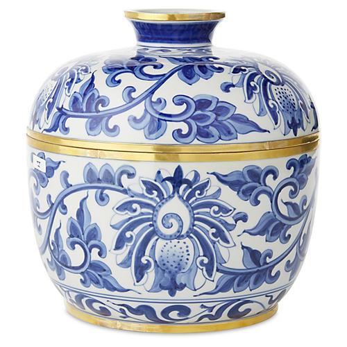 """8"""" Vine Covered Bowl, Blue/White"""